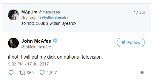 McAfee Twitter comment